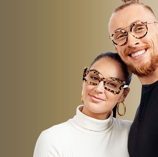Image of Claire and George Kittle wearing Zenni lettey cat-eye glasses #4449335 and Zenni the people's frames round glasses #7826135 respectively, against a white background.