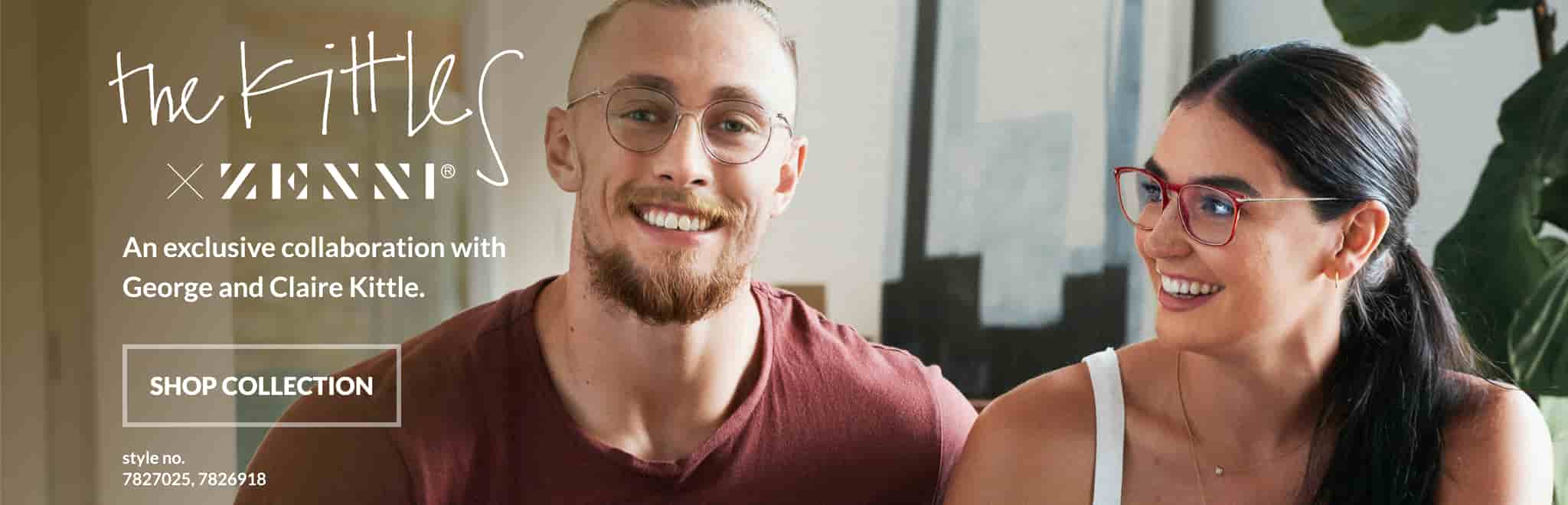 The Kittles and Zenni. Meet the kittles. Image of 49er George Kittle and his wife Claire, wearing zenni stone cold round glasses #7827025, and Zenni thunderbirds square glasses #7826918 respectively, inside their living room.