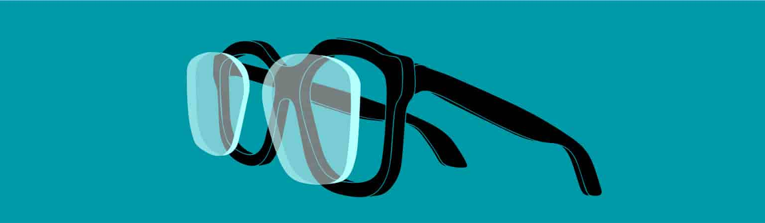 Illustration of glasses with lenses protruding from frame to show thickness.