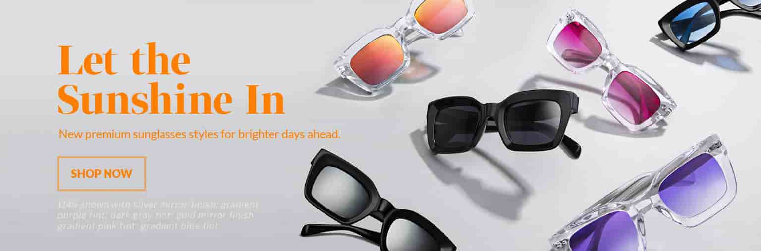 Let the sunshine in. New premium sunglasses styles for brighter days ahead. Shop now. Six pairs of Zenni square premium sunglasses #1146 in both black and clear, with a variety of tints and finishes.