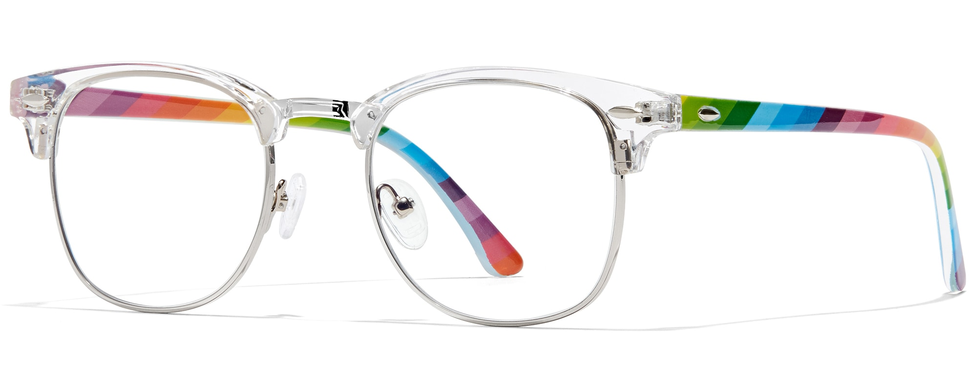 Angled view of Browline Glasses in rainbow #1910223