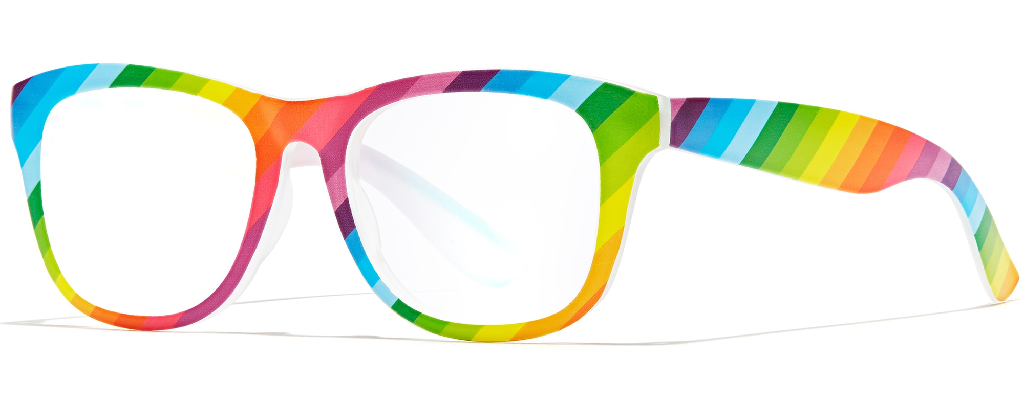 Angled view of Square Glasses in rainbow #2024029