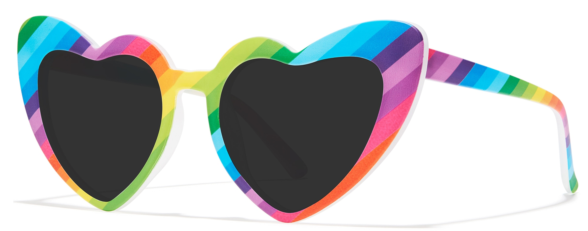 Angled view of Heart-Shaped Glasses in rainbow #2029929