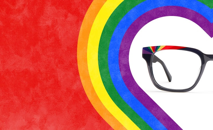 Zenni Pride rainbow square glasses #4439916 on rainbow heart background.