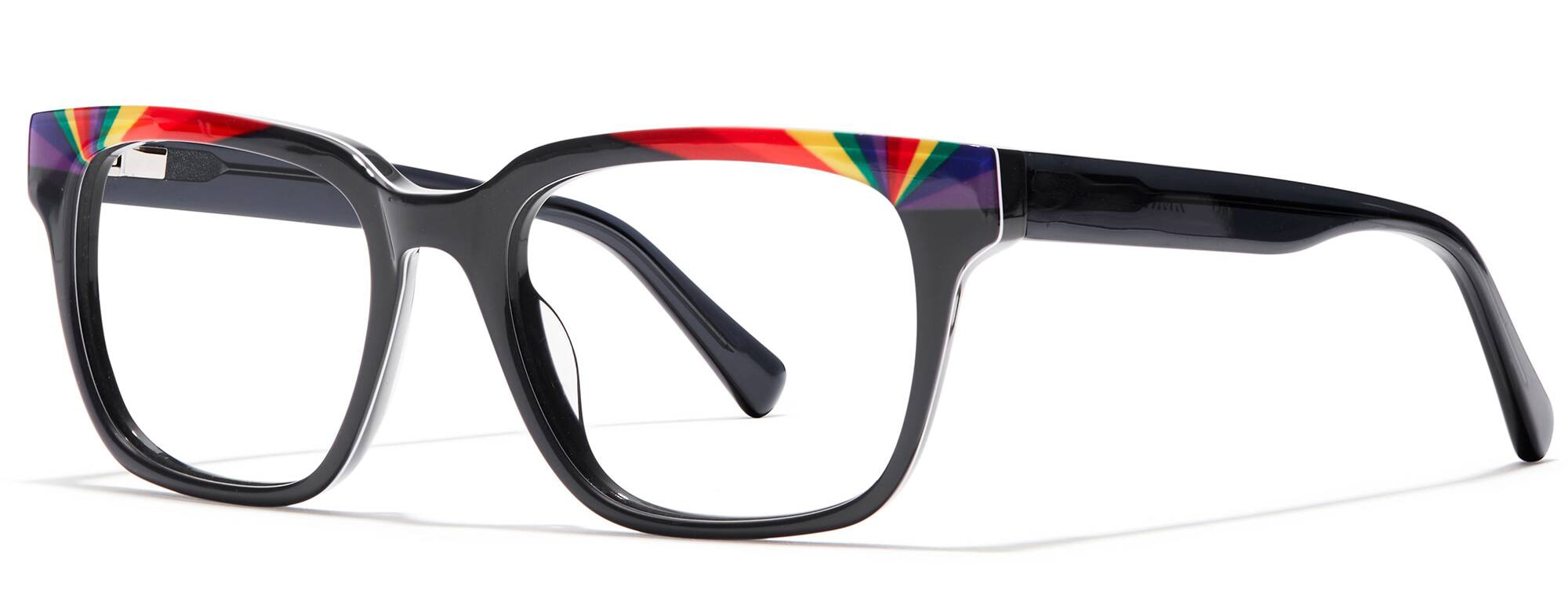 Angled view of Square Glasses in rainbow #4439916