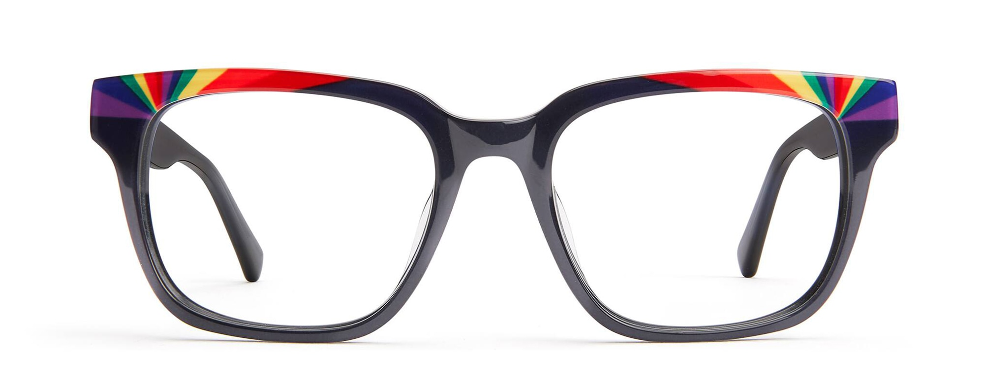 Front view of Square Glasses in rainbow #4439916
