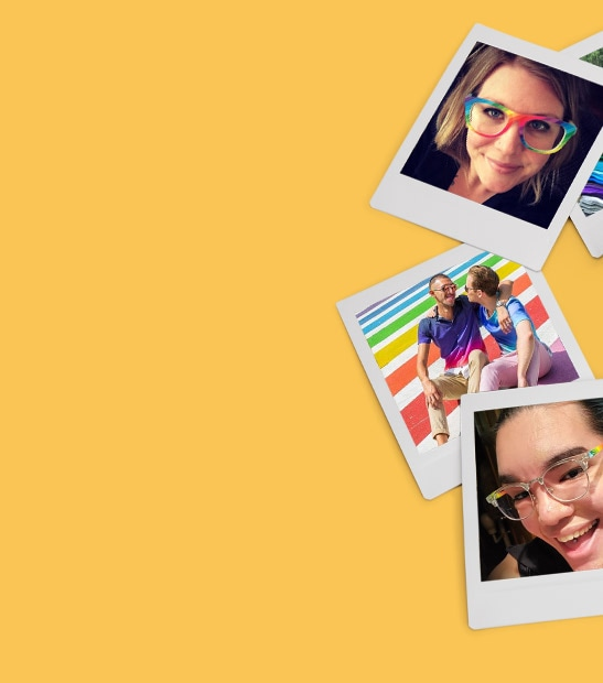 Photos of Zenni customers wearing the Pride rainbow square glasses #2024029.