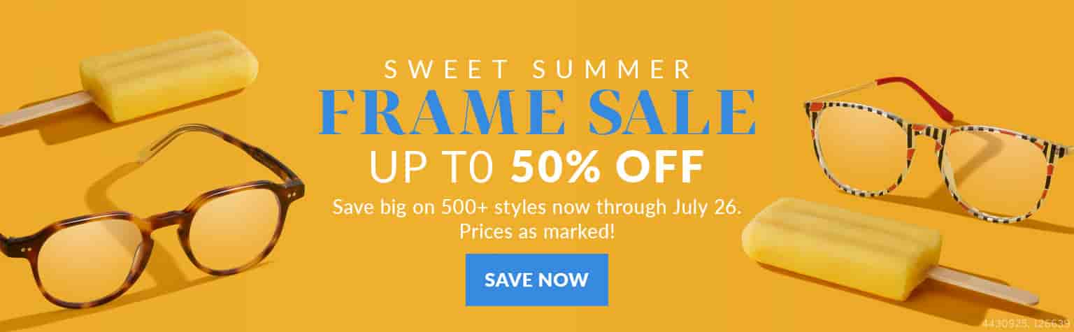 Sweet summer frame sale. Up to 50 percent off. Save big on five hundred plus styles now through July 26th. Prices as marked. Zenni round escape frames #4430925 and round frames #126639 next to orange popsicles, against an orange background.