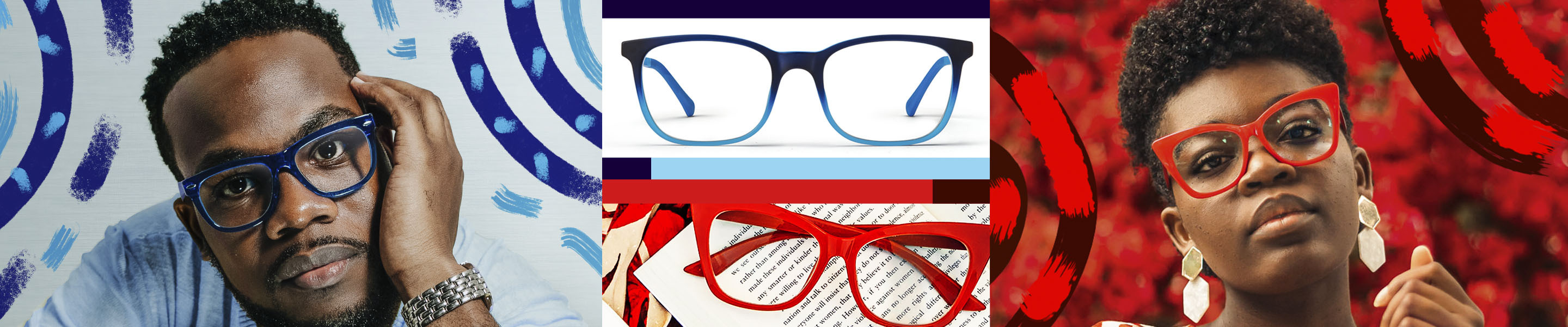 Four images, two of glasses and two of people in glasses. Image of a man wearing Zenni Olvera square glasses #449416 in blue, against a light blue background. Image of a woman wearing Zenni cat-eye glasses #2027018 in red, against a red background. Image of Zenni square glasses #2016216 in blue on a white background. Image of Zenni cat-eye glasses #2027018 in red resting on a book.