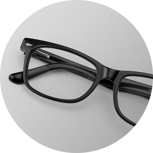 Black rectangle glasses #612921 on a light gray background.