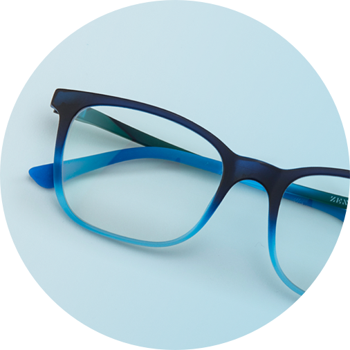 Blue square glasses #2016216 on a light blue background.