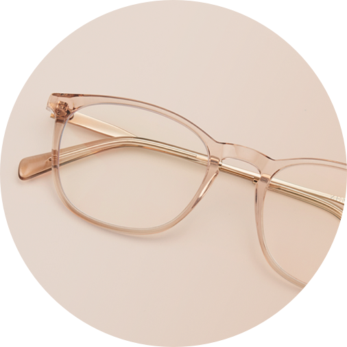 Tea color square glasses #7814019 on a light brown background.