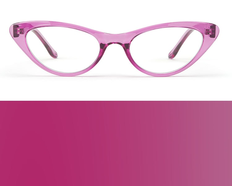Berry glasses. Image of Zenni cat-eye glasses #2025617 in purple on a white background.