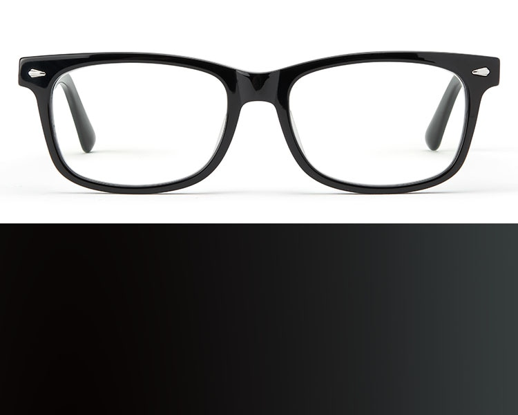 Black glasses. Image of Zenni rectangle glasses #612921 in black on a white background.