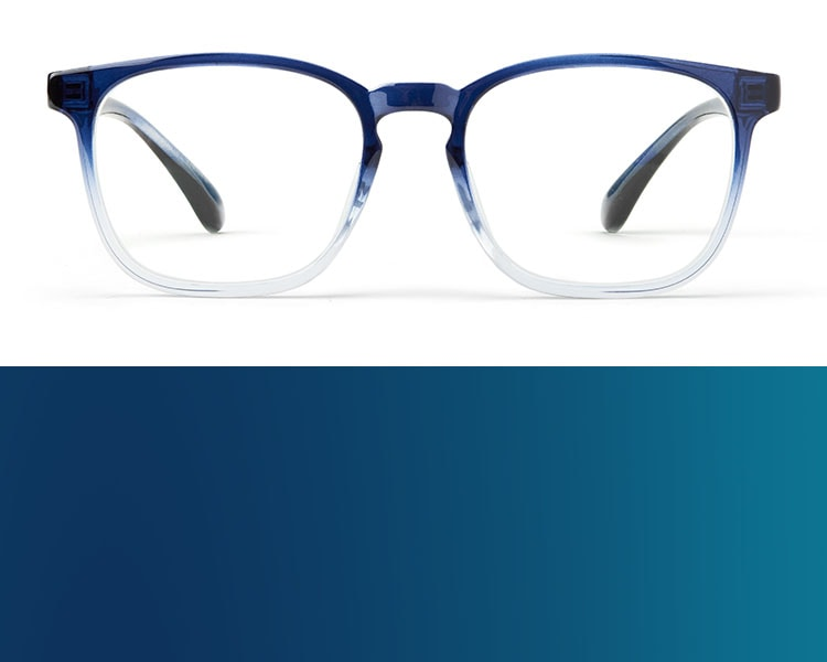 Blue glasses. Image of Zenni square glasses #2020116 in navy ombre on a white background.