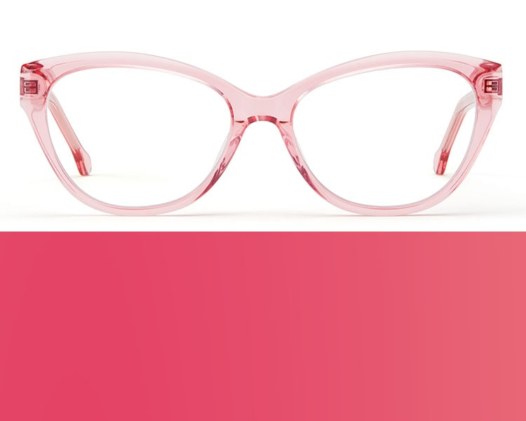 Pink glasses. Image of Zenni cat-eye glasses #4429219 in pink on a white background.