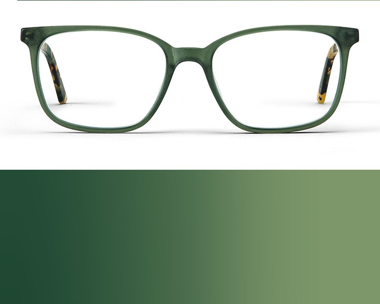 Green glasses. Image of Zenni square glasses #4423524 in green on a white background.
