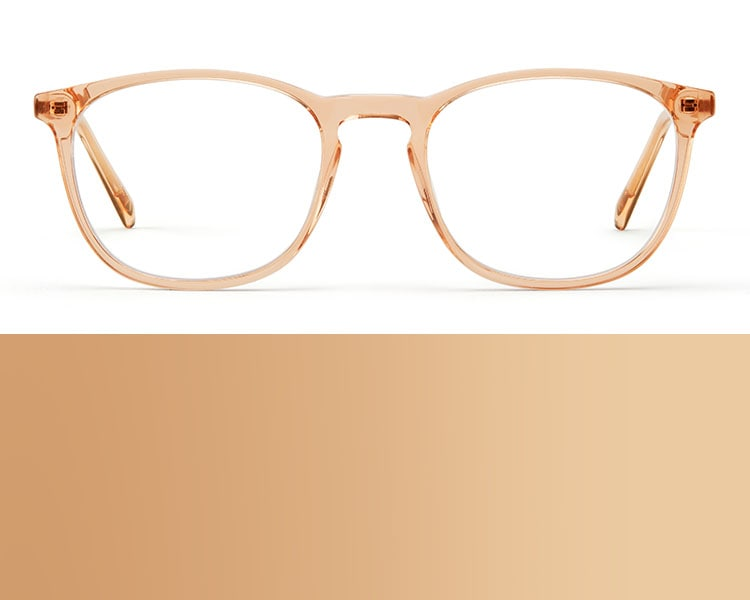 Neutral glasses. Image of Zenni square glasses #7814019 in tea against a white background.