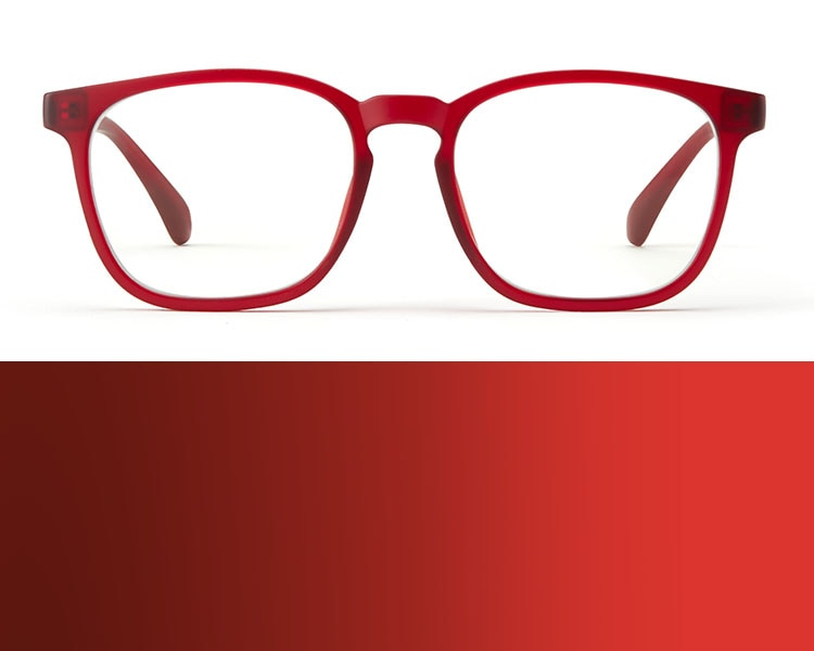 Red glasses. Image of Zenni square glasses #2020118 in red on a white background.