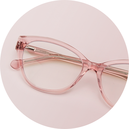 Pink cat-eye glasses #4429219 on a dusty pink background.