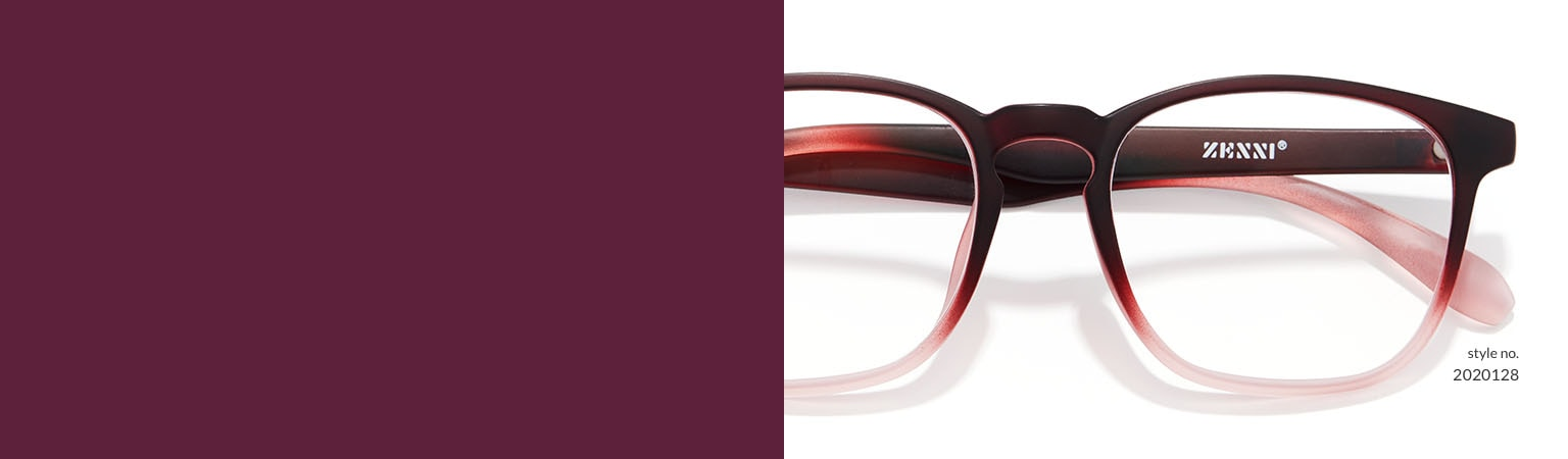 Image of Zenni square glasses #2020128 against a white background.