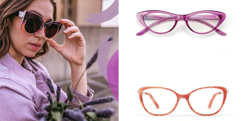 Image of a woman wearing Zenni premium cat-eye sunglasses #1117917 in petal, wearing a lavender top and holding a bundle of lavender flowers on the left, and image of Zenni cat-eye glasses #2025617 in purple and coral oval glasses #7824019 on a white background on the right.
