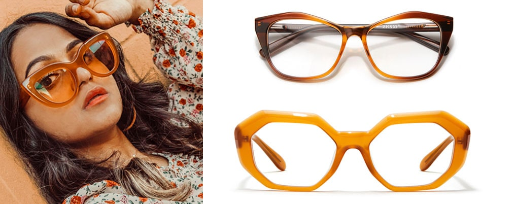 Image of Zenni brown round glasses #2030715 on a white background, next to the image of a woman leaning against a pale orange concrete wall, wearing Zenni Dahlia cat-eye glasses #4445615.