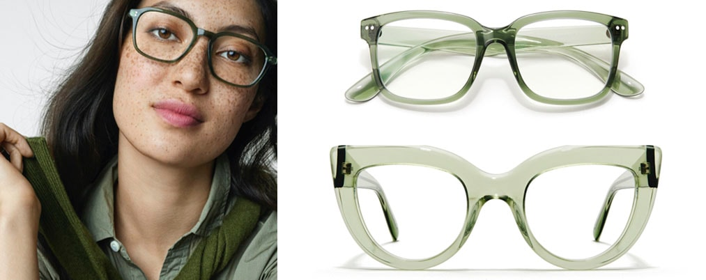 Image of a woman wearing a blouse, wearing Zenni Sun Chaser #4432824 in pine color, next to an image of two pairs of glasses: Zenni Off the Grid rectangle glasses #4433324, and Zenni cat-eye glasses #4412624 on a white background.