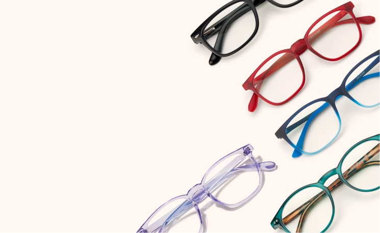 Image of an assortment of colorful Zenni glasses.