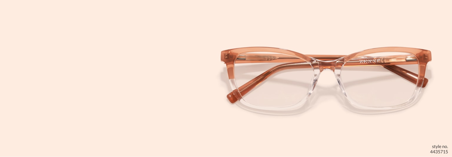 Image of Zenni fawn rectangle glasses #4435715 on a light peach background.