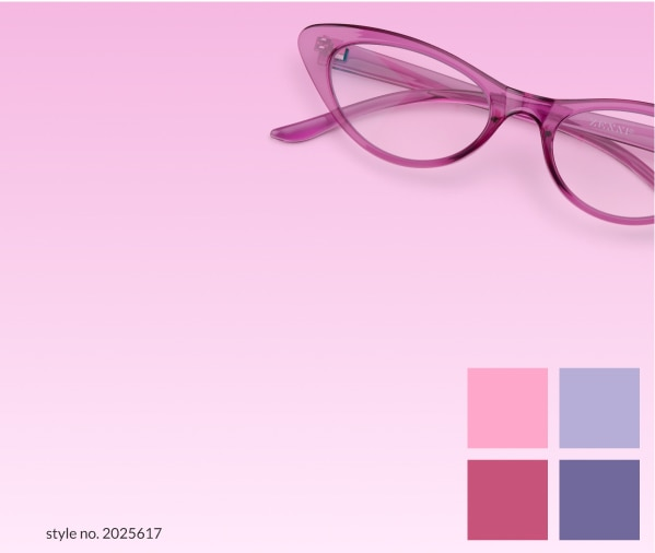 Berry. A rick color splash that's anything but basic. Image of Zenni cat-eye glasses #2025617 against a pink background.