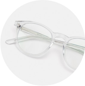 Image of a pair of clear square glasses against a white background.