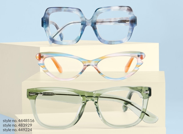 Image of a lady wearing zenni cat-eye glasses #4440112, resting her face on her hand. Image of three pairs of Zenni glasses: zenni square glasses #4448516, zenni cat-eye glasses #483929, and zenni Bolinas square glasses #449224, on top of tan boxes against a blue background.