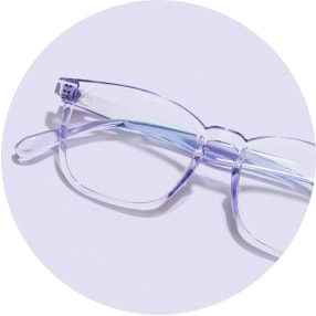 Image of a pair of purple square glasses against a light purple background.