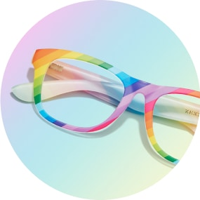 Image of a pair of rainbow square glasses against a multi-colored background.
