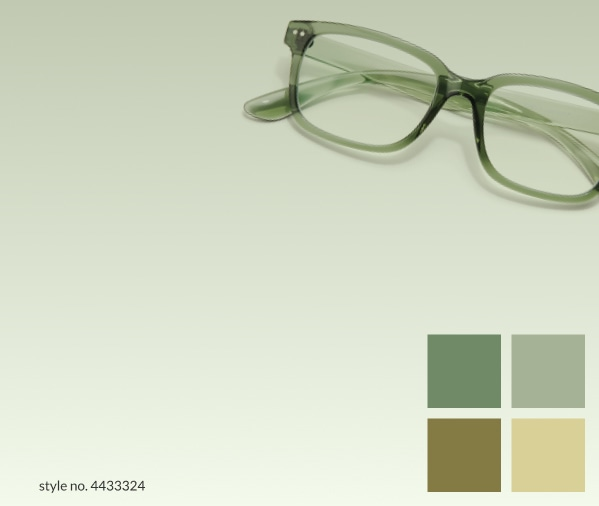Sage. A sophisticated green that looks great on almost everyone. Shop sage. Image of Zenni Off-The-Grid square glasses #4433324 against a green background.