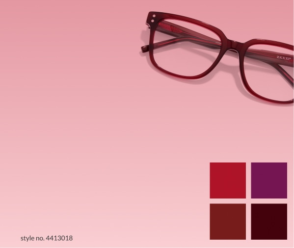 Wine. Decadent wine tones from sangria to shiraz. Shop wine. Image of zenni Sausalito square glasses #4413018 against an ombre pink to light red background.