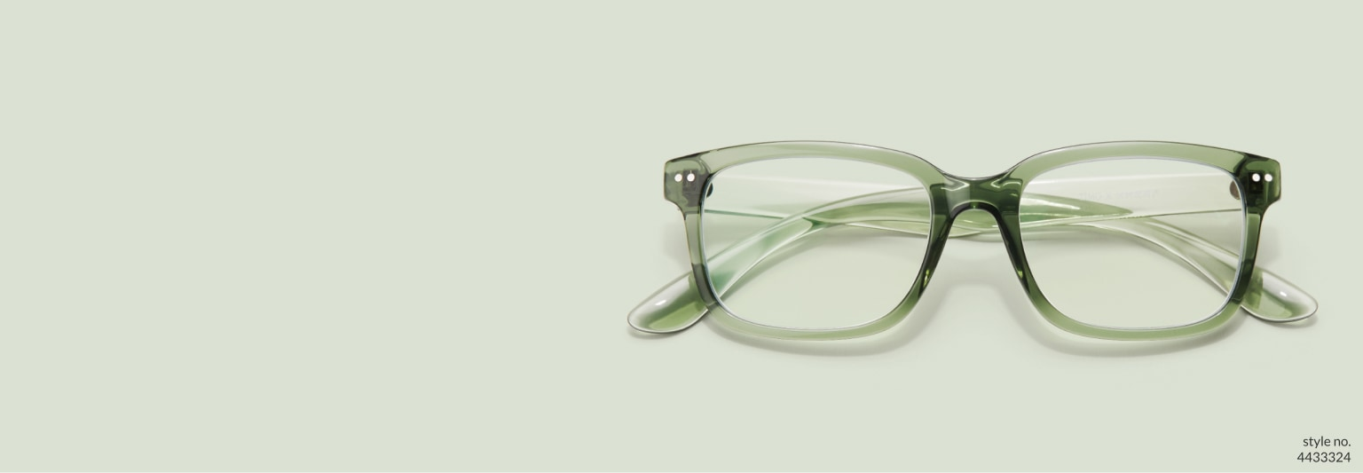 Image of Zenni pine green rectangle glasses Off the Grid #4433324 on a light green background.