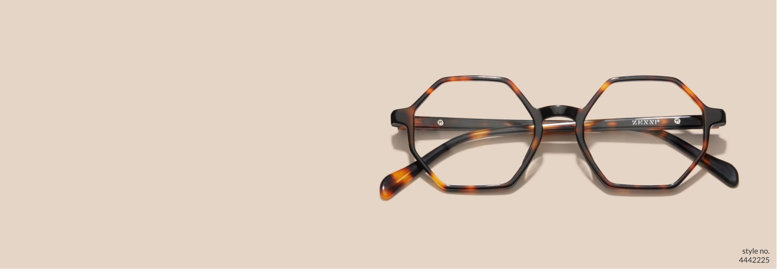 Image of Zenni tortoiseshell geometric glasses #4442225 on a light brown background.