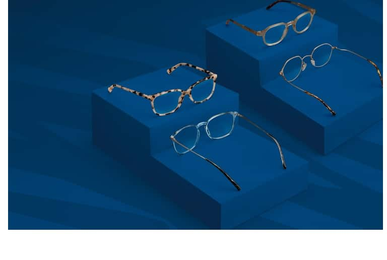 Trending glasses for 2020 on a classic blue background, including clear square glasses #7818716, tortoiseshell square glasses #4427835, neutral round glasses #4431033, and vintage metal geometric glasses #157714.