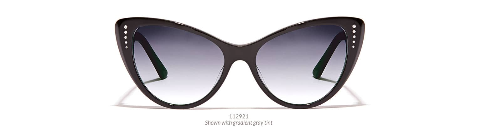 Glamorous, black acetate cat-eye sunglasses with rhinestone accents on the corners are shown with gradient gray tint.