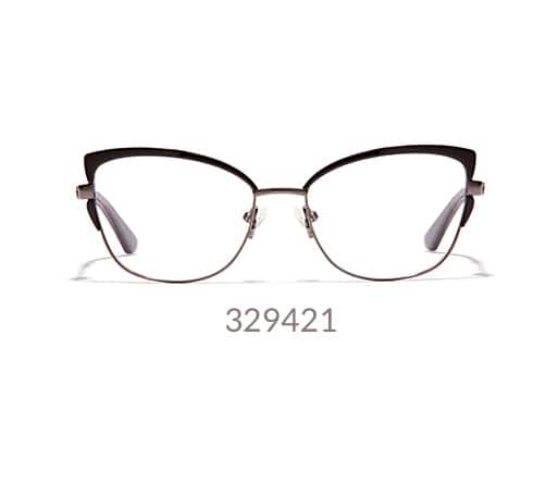Sophisticated, vintage-inspired metal cat-eye glasses shown in black option.
