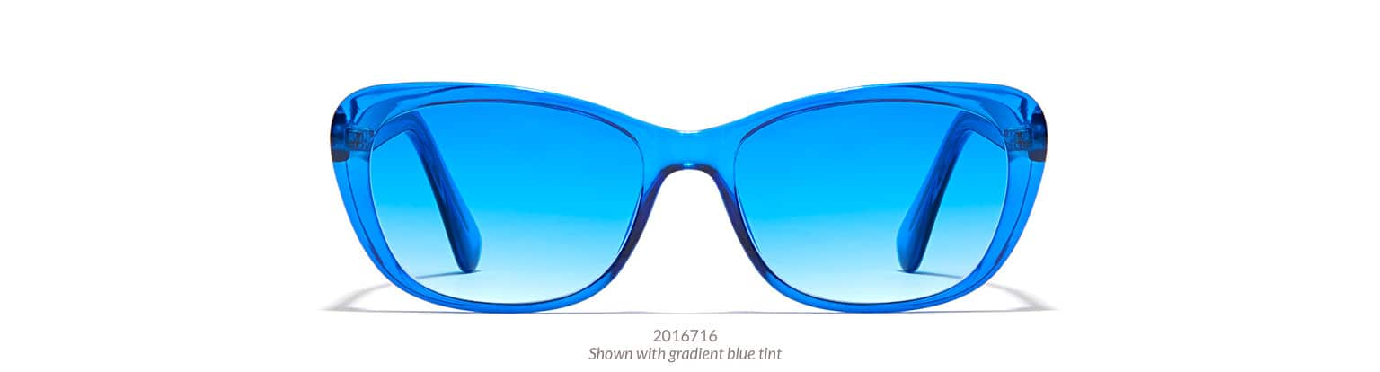 Value-priced blue plastic cat-eye glasses shown with gradient blue tint.