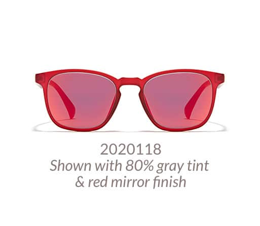 Square glasses made with lightweight TR90 plastic shown with 80% gray tint and red mirror finish.