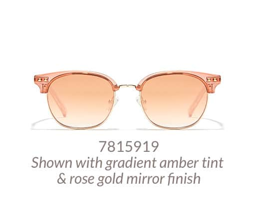 Fun browline glasses shown in translucent pink option with gradient amber tint and rose-gold mirror finish.