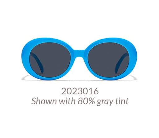 Bold, mod-style oval frame shown in blue option with 80% gray tint.