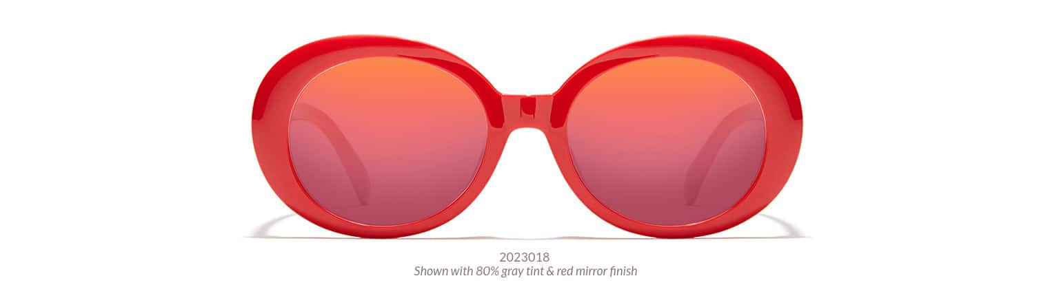 Bold, mod-style oval frame shown in red option with 80% gray tint and red mirror finish.