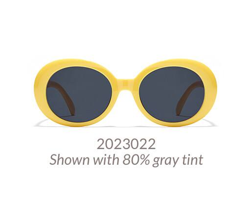 Bold, mod-style oval frame shown in yellow option with 80% gray tint.