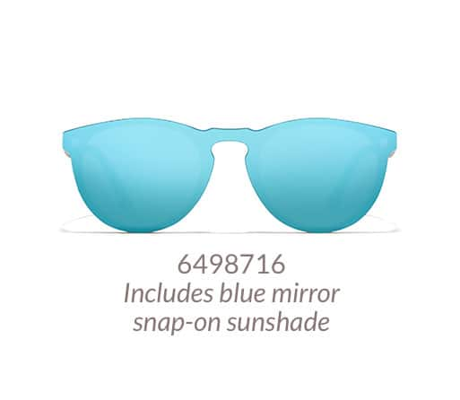 Lightweight, black round glasses come with magnetic snap-on sunshade. Shown with blue mirror sunshade option.