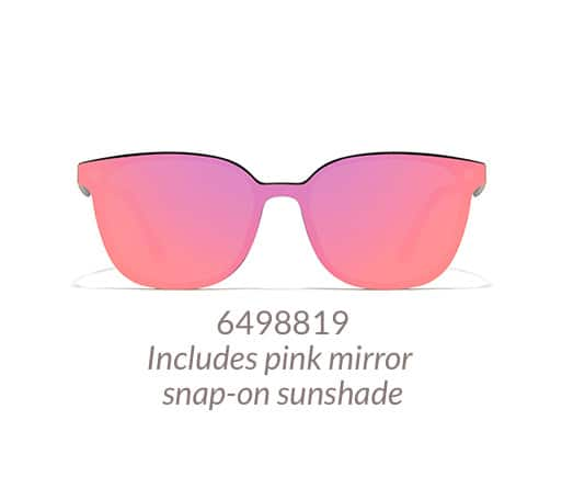 Lightweight, black square glasses come with magnetic snap-on sunshade. Shown with pink mirror sunshade option.